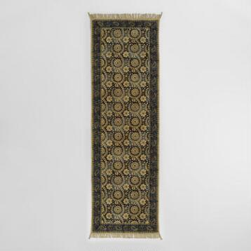 2.5'x8' Blue and Gray Kalamkari Floor Runner